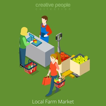 Lokale boerderij markt winkel verkoop winkelen platte 3d isometrie isometrische website concept illustratie
