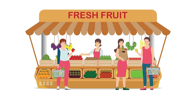 Lokale boerderijmarkt fruitwinkel met fruitverkoper.