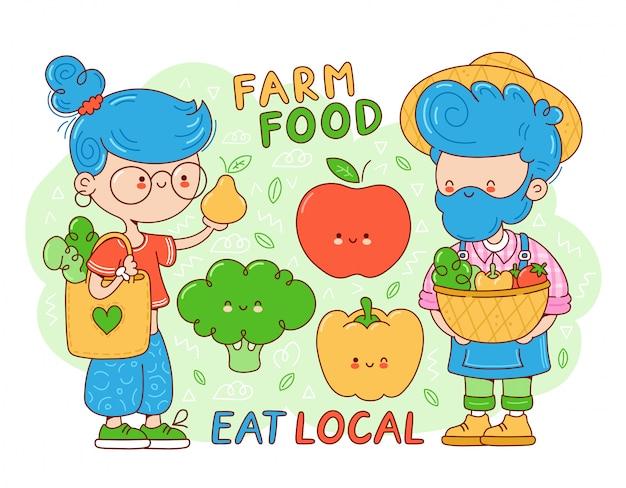 Lokale boerderijvoedselverzameling. leuke gelukkig jonge vrouw met eco tas kopen fruit. boer man verkoop groenten. cartoon karakter illustratie