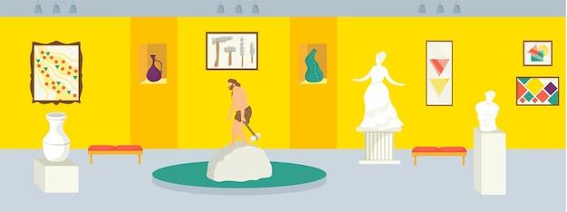 Lokale geschiedenis museum vector illustratie cartoon tentoonstelling interieur galerij hal met oude beeldhouw...