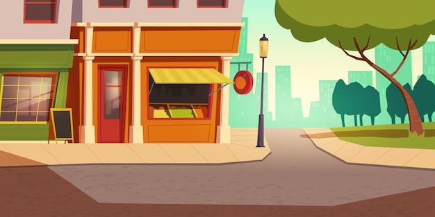 Lokale groente- en fruitwinkel in stedelijk landschap