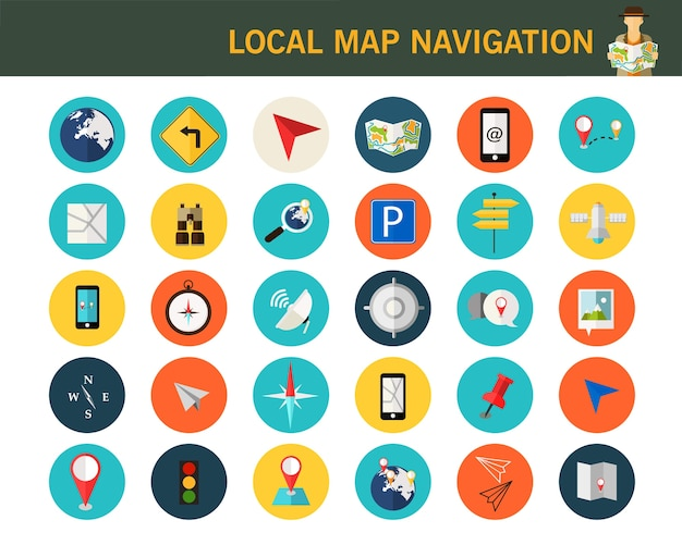 Lokale kaart navigatie concept plat pictogrammen.