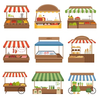 Lokale markt. buitenwinkel plaatst verse boerderijvoedsel groenten fruit melk en vlees eigenaren illustraties