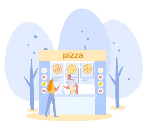 Lokale markt street food pizza cafe met mensen.
