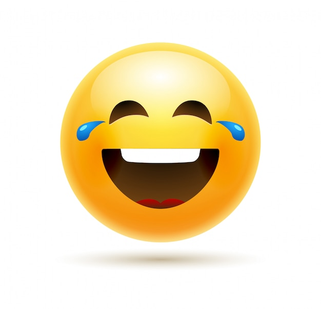 Lol emoji icoon smile face. emoticon grap happy cartoon grappige lol emoji illustratie