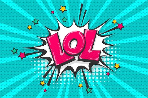 Lol grappige wow gekleurde komische tekstverzameling geluidseffecten pop-art stijl tekstballon