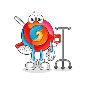Lollipop ziek in iv illustratie