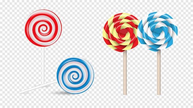 Lollipops swirl, gekleurde ronde suikerspin set, realistische stijl. collectie geïsoleerd op transparante achtergrond
