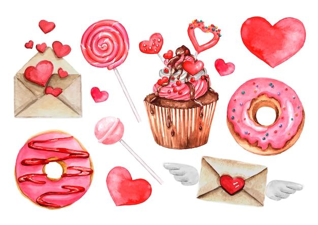 Lolly, zoet snoep, donut, harten set