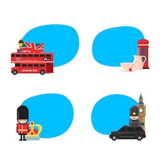 Londen bezienswaardigheden stickers illustratie