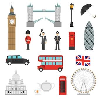 Londen bezienswaardigheden vlakke pictogrammen instellen