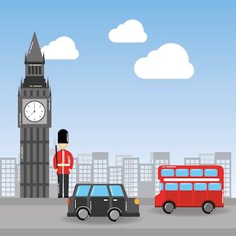Londen, de big ben, soldaat, dekbus, en, taxi, stedelijk landschap