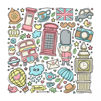 Londen engeland hand getrokken doodle kleurrijk