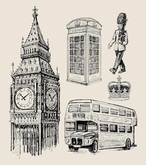 Londen hand getrokken schets. engeland, vk