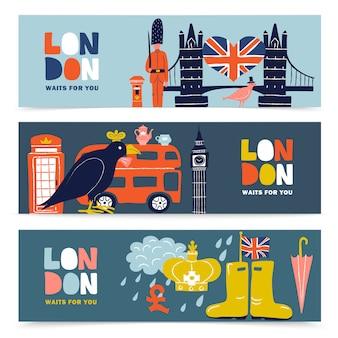 Londen horizontale banner set