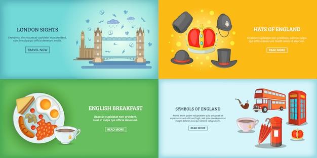 Londen landmark gebouwen banner of poster set