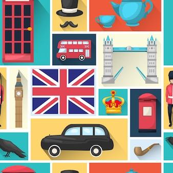 Londen naadloze patroon met schaduw vierkante pictogram ingesteld met bezienswaardigheden van de stad