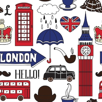 Londen pictogrammen in de hand getekende illustratie