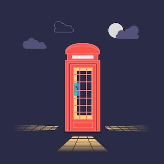 Londen rode telefooncel 's nachts