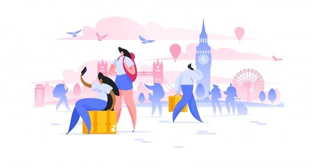 Londen sightseeing vakantie illustratie vriendinnen toerist met rugzakken