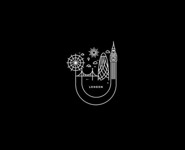 Londen skyline van silhouet in zwart-wit, vectorillustratie.