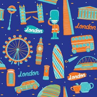 Londen stad naadloos patroon met oriëntatiepunten elementen