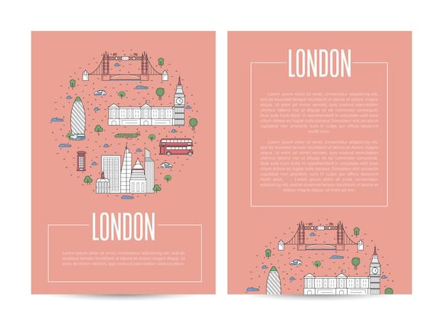 Londen stad reizende reclame in lineaire stijl