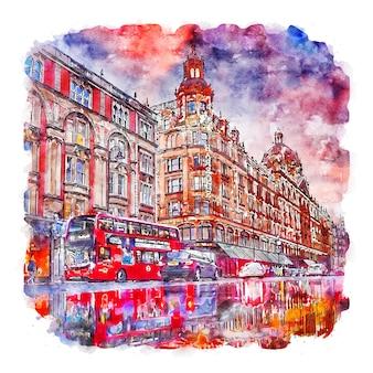 Londen verenigd koninkrijk aquarel schets hand getekende illustratie