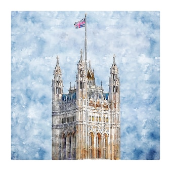 Londen verenigd koninkrijk aquarel schets hand getrokken illustratie