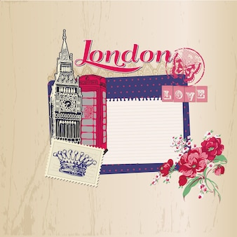 Londen vintage kaart met postzegels