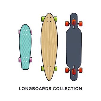 Longboards-collectie in vlakke stijl
