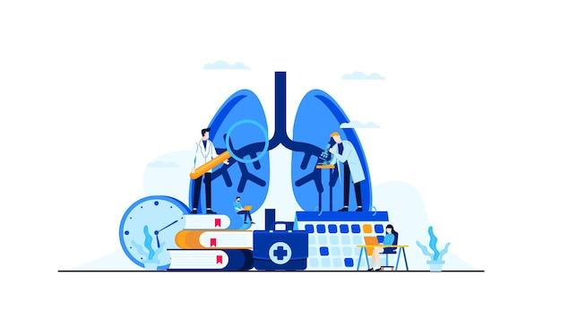 Longen ziekte vlakke afbeelding doktersonderzoek voor behandeling conceptontwerp