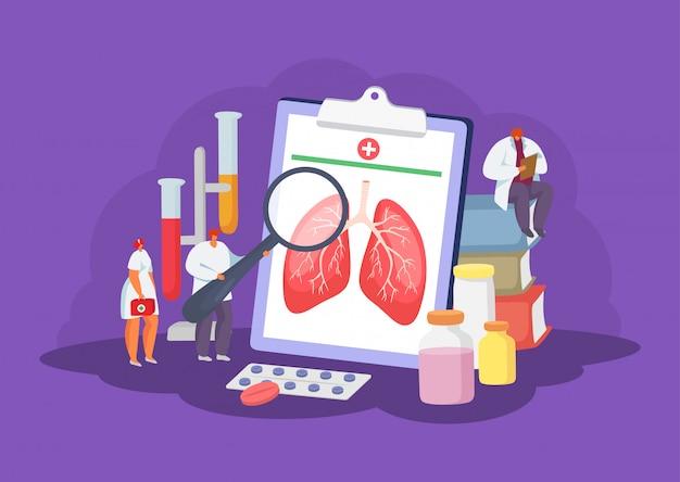 Longengezondheidszorg met artsen medisch concept diagnose, gezondheidszorg en behandelingsillustratie.