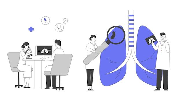 Longinspectie, onderzoek van het ademhalingssysteem gezondheidszorg en behandelconcept.
