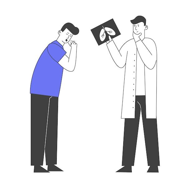 Longinspectie, onderzoek van het ademhalingssysteem gezondheidszorg en tuberculosebehandeling.