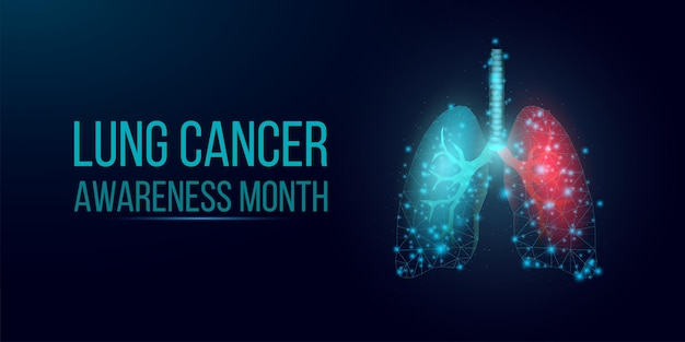 Longkanker bewustzijn maand concept. sjabloon voor spandoek met gloeiende low poly wireframe longen. geïsoleerd op donkere achtergrond. vector illustratie.
