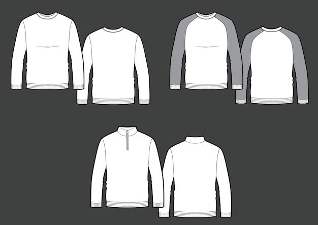 Longsleeve t-shirt afbeelding ingesteld op grijze achtergrond. vector schetsen