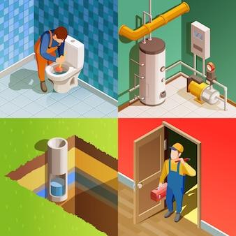 Loodgieter 4 kleurrijke isometrische pictogrammen vierkant