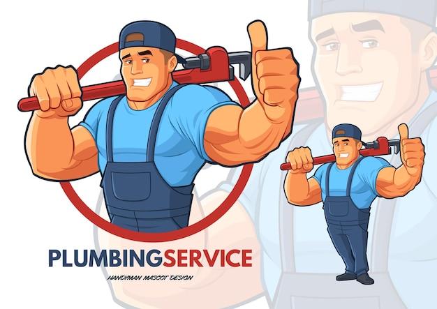Loodgieter characterdesign met sterke grote armen