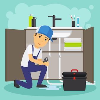 Loodgieter en loodgieterswerk service vectorillustratie