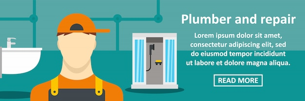 Loodgieter en reparatiebanner horizontaal concept