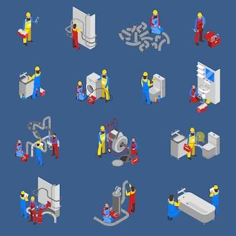 Loodgieter isometrische mensen icon set