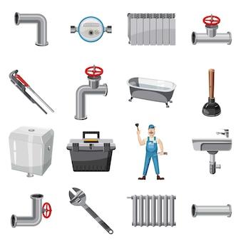 Loodgieter items pictogrammen instellen. beeldverhaalillustratie van de vectorpictogrammen van loodgieterpunten voor web