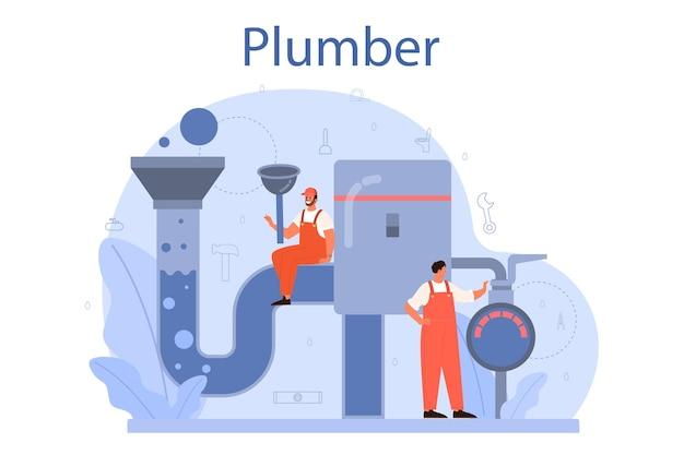 Loodgieter. loodgietersdienst, professionele reparatie en reiniging van sanitair en badkamerapparatuur. vector illustratie.