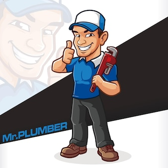Loodgieter mascotte cartton mechanic service