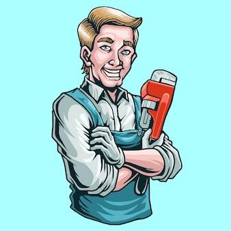 Loodgieter mascotte illustratie