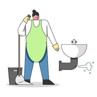 Loodgieter met uitrustingsstukken in overall sanitair werken