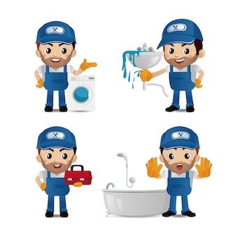 Loodgieter met verschillende poses