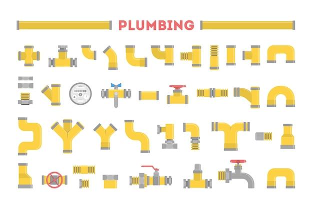 Loodgieter set, verzameling pijp. loodgieterswerk. geel pijpleidingelement, industriële technologie. illustratie in stijl