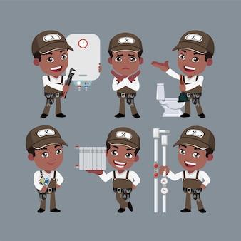Loodgieterkarakter met verschillende poses
